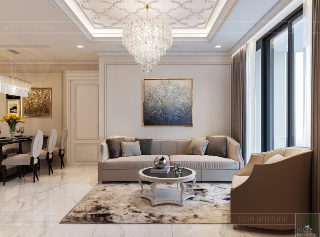 thiết kế sky villa landmark 81 - phòng khách bếp 7