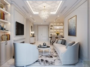 thiết kế sky villa landmark 81 - phòng khách bếp 8