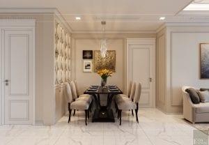 thiết kế sky villa landmark 81 - phòng khách bếp 9