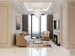 thiết kế sky villa landmark 81 - phòng khách bếp 5