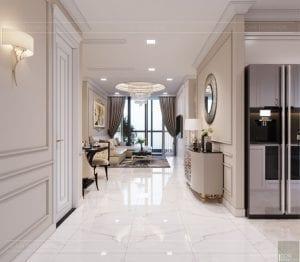 Thiết kế nội thất căn hộ cao cấp Landmark 81 - phòng khách bếp 1