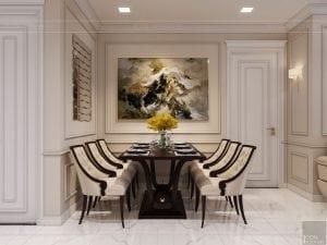 Thiết kế nội thất căn hộ cao cấp Landmark 81 - phòng khách bếp 4