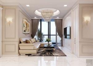 Thiết kế nội thất căn hộ cao cấp Landmark 81 - phòng khách bếp 8