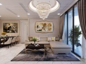 Thiết kế nội thất căn hộ cao cấp Landmark 81 - phòng khách bếp 9