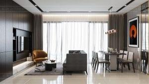 căn hộ estella heights 3 phòng ngủ - phòng khách bếp