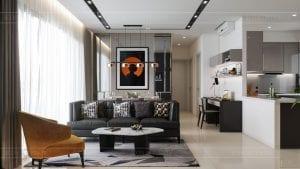 căn hộ estella heights 3 phòng ngủ - phòng khách