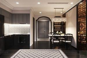 thiết kế căn hộ nội thất phương đông - phòng khách bếp 4