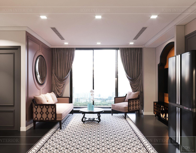 thiết kế căn hộ nội thất phương đông - phòng khách bếp 5