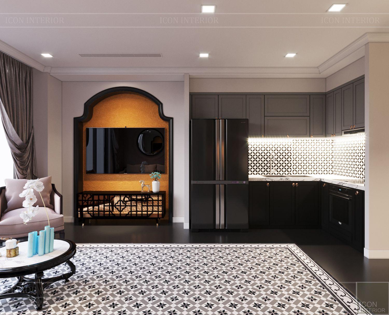 thiết kế căn hộ nội thất phương đông - phòng khách bếp 6