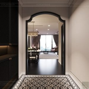 thiết kế căn hộ nội thất phương đông - phòng khách bếp 1