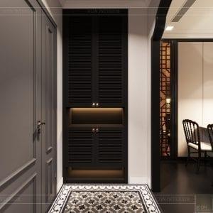 thiết kế căn hộ nội thất phương đông - phòng khách bếp 2