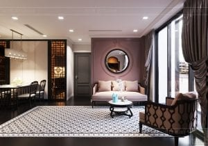 thiết kế căn hộ nội thất phương đông - phòng khách bếp 7