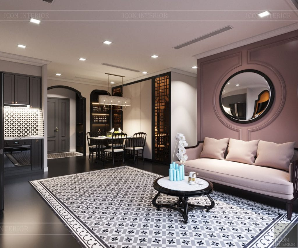 thiết kế căn hộ nội thất phương đông - phòng khách bếp 8