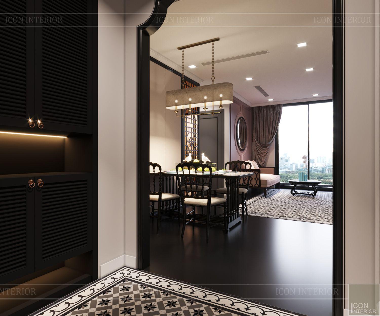 thiết kế căn hộ nội thất phương đông - phòng khách bếp 3