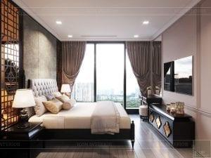 thiết kế căn hộ nội thất phương đông - phòng ngủ 1