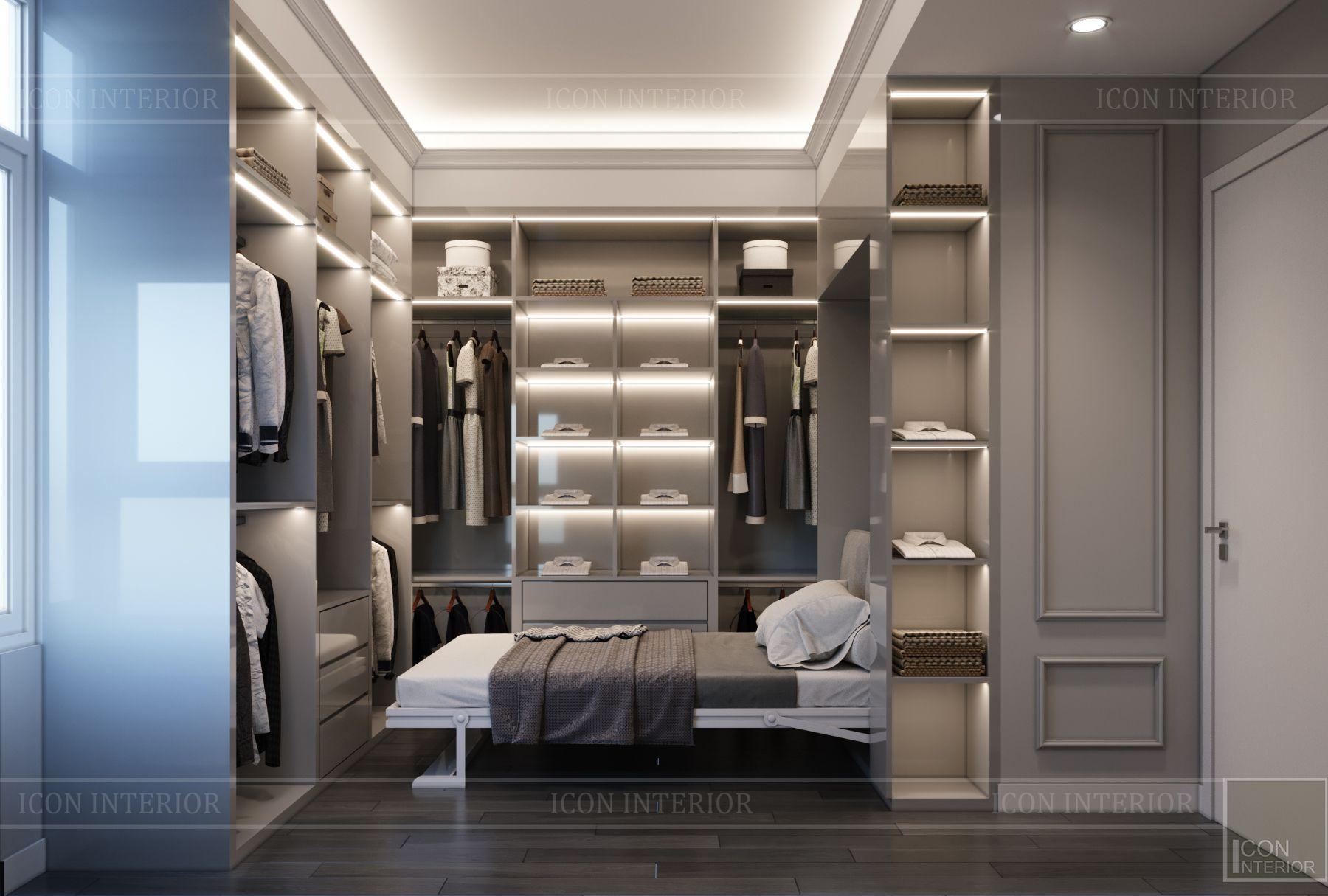 Thiết nội thất chung cư 100m2 2 phòng ngủ Saigon Pearl phòng ngủ