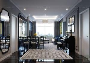 thiết kế căn hộ saigon pearl - phòng khách bếp 2