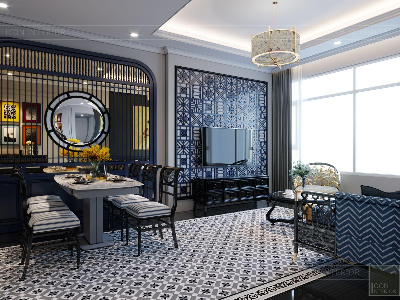 thiết kế nội thất nhà chung cư 100m2 Saigon Pearl phòng khách