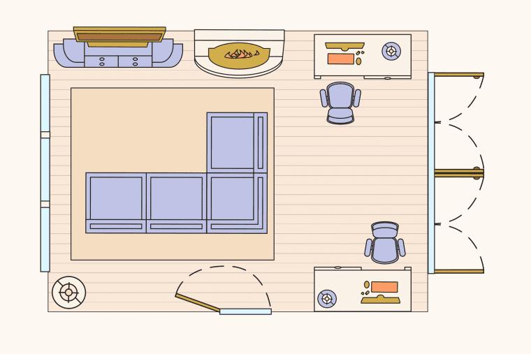 bố trí phòng khách - kết hợp với công việc