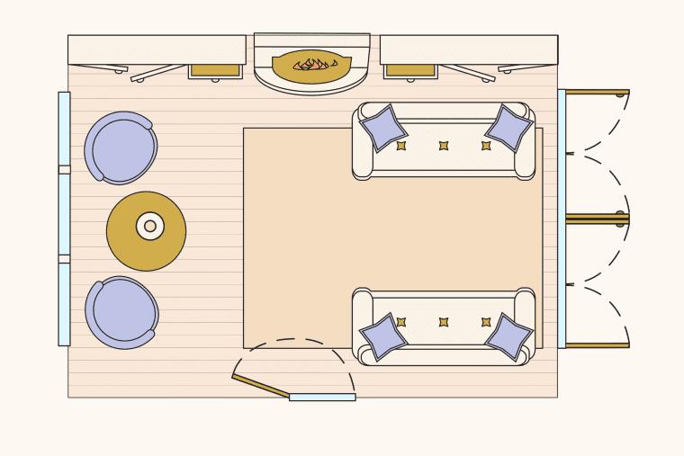 bố trí phòng khách - đồng quê hiện đại