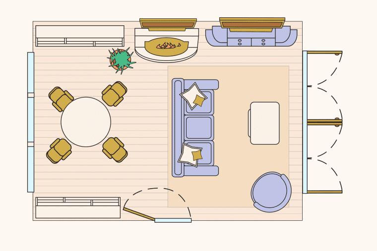 bố trí phòng khách - chia khu vực riêng