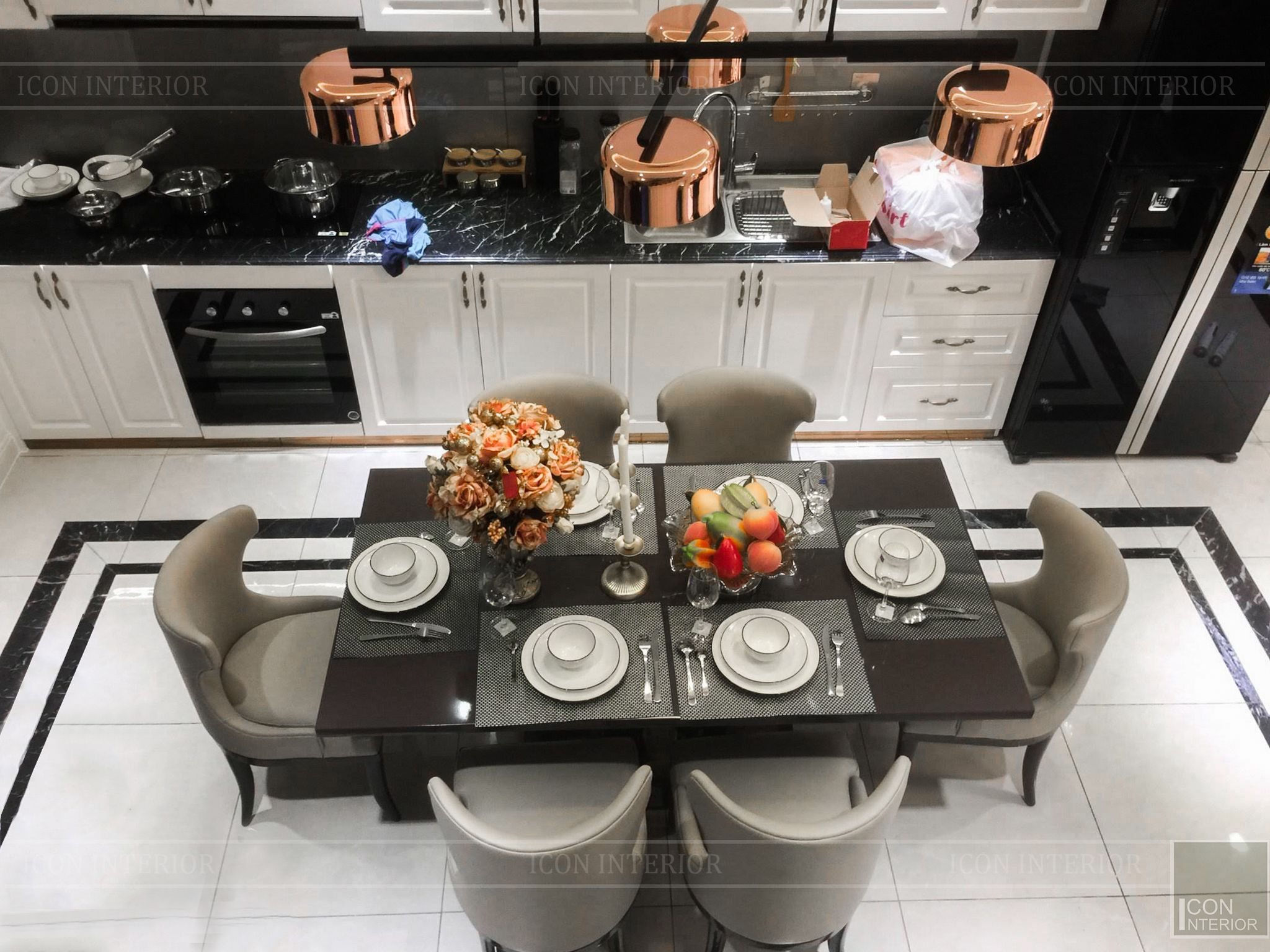thi công nội thất tân cổ điển - phòng khách bếp 3