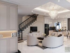 thiết kế biệt thự Park Riverside Premium - phòng khách bếp 2