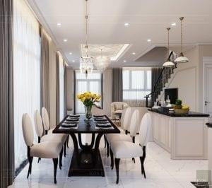 thiết kế biệt thự Park Riverside Premium - phòng khách bếp 8