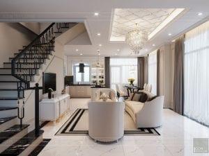 thiết kế biệt thự Park Riverside Premium - phòng khách bếp 3