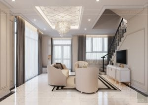 thiết kế biệt thự Park Riverside Premium - phòng khách bếp 5