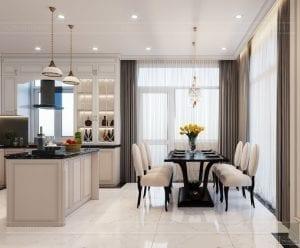 thiết kế biệt thự Park Riverside Premium - phòng khách bếp 6