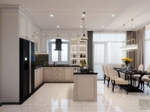thiết kế biệt thự Park Riverside Premium - phòng khách bếp 9