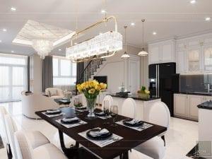 thiết kế biệt thự Park Riverside Premium - phòng khách bếp 7