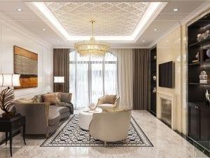 Thiết kế nội thất biệt thự Lavilla - phòng khách bếp 4