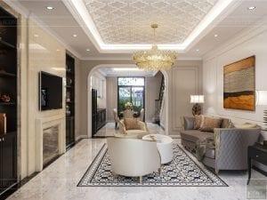 Thiết kế nội thất biệt thự Lavilla - phòng khách bếp 1