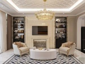 Thiết kế nội thất biệt thự Lavilla - phòng khách bếp 2