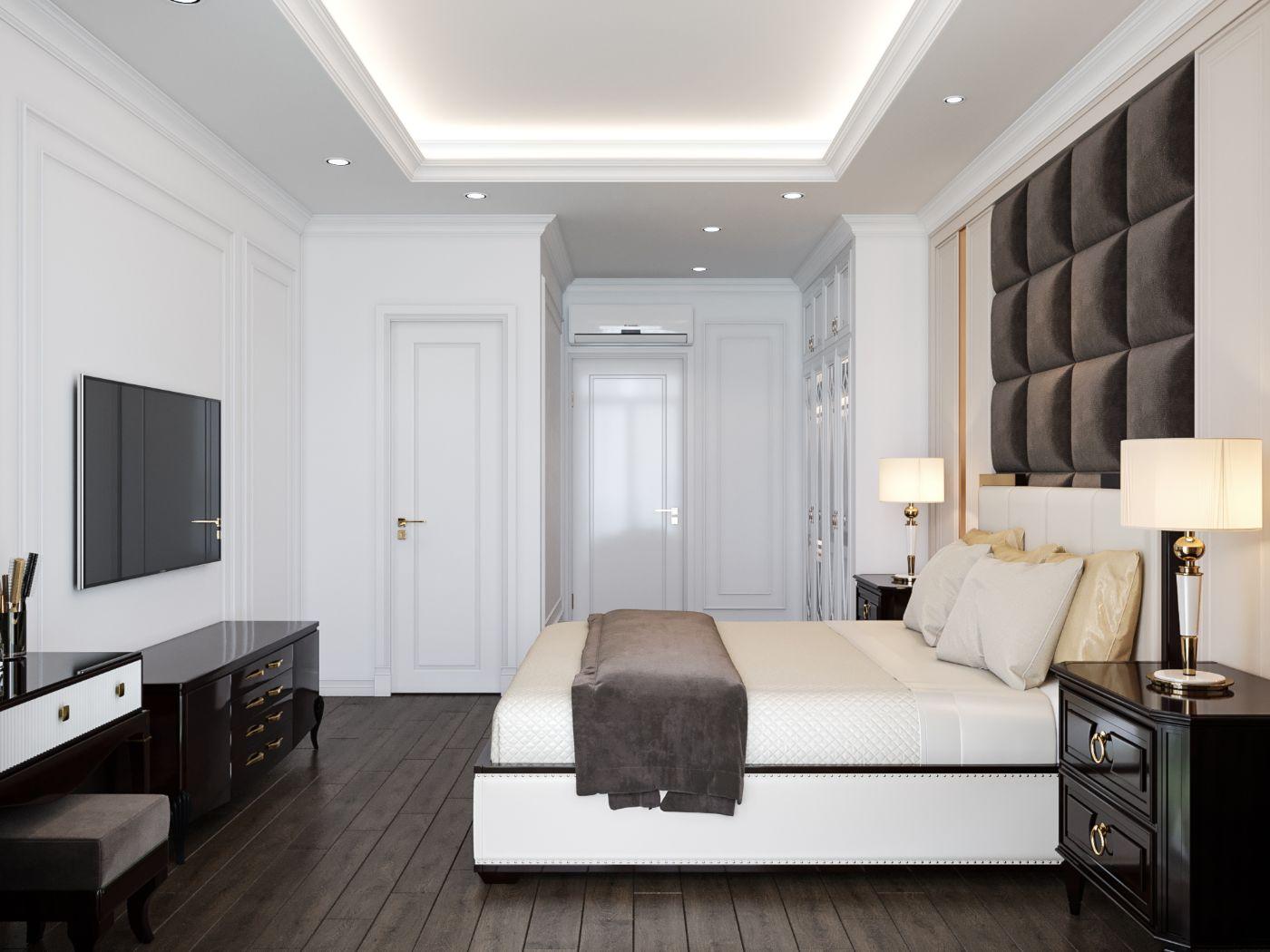 thiết kế nội thất nhà 2 tầng - phòng ngủ master 1