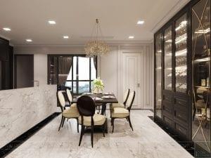 thiết kế nội thất the landmark 81 - phòng khách bếp 11