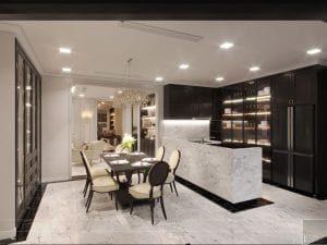 thiết kế nội thất the landmark 81 - phòng khách bếp 6