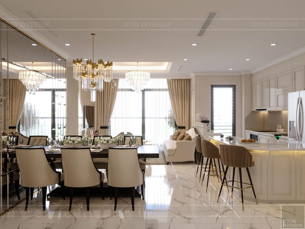 phong cách tân cổ điển nhẹ nhàng - phòng khách bếp 1