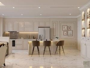 phong cách tân cổ điển nhẹ nhàng - phòng khách bếp 3