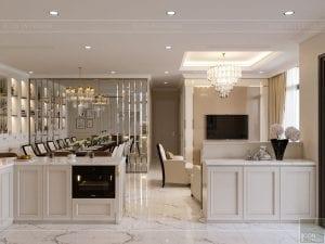 phong cách tân cổ điển nhẹ nhàng - phòng khách bếp 5