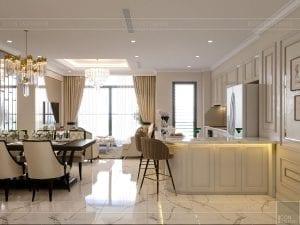 phong cách tân cổ điển nhẹ nhàng - phòng khách bếp 6