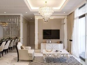 phong cách tân cổ điển nhẹ nhàng - phòng khách bếp 7
