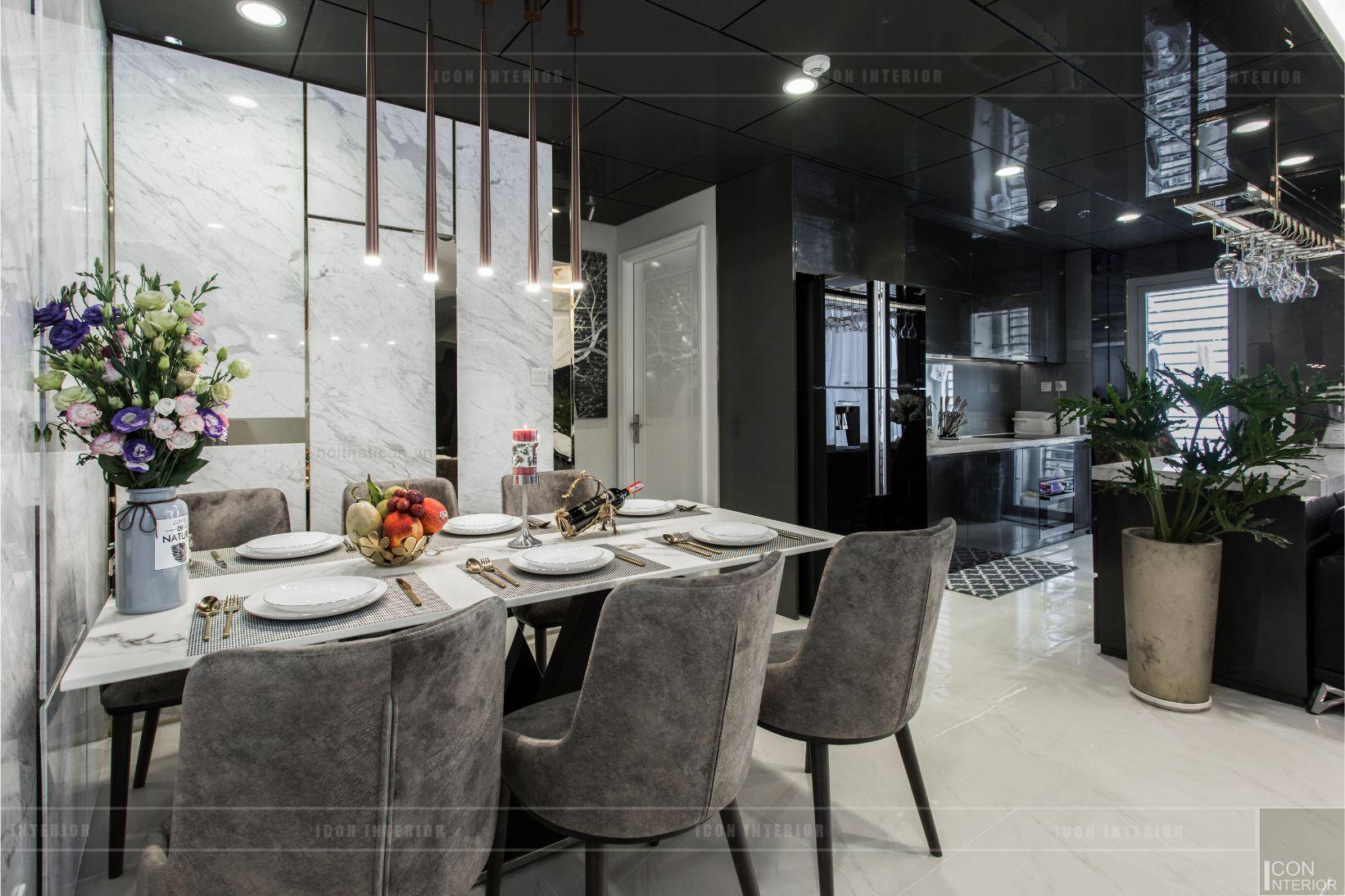 thiết kế thi công nội thất chung cư - phòng khách bếp 9