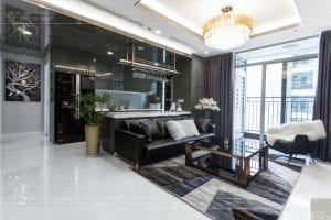 thiết kế thi công nội thất chung cư - phòng khách bếp 3