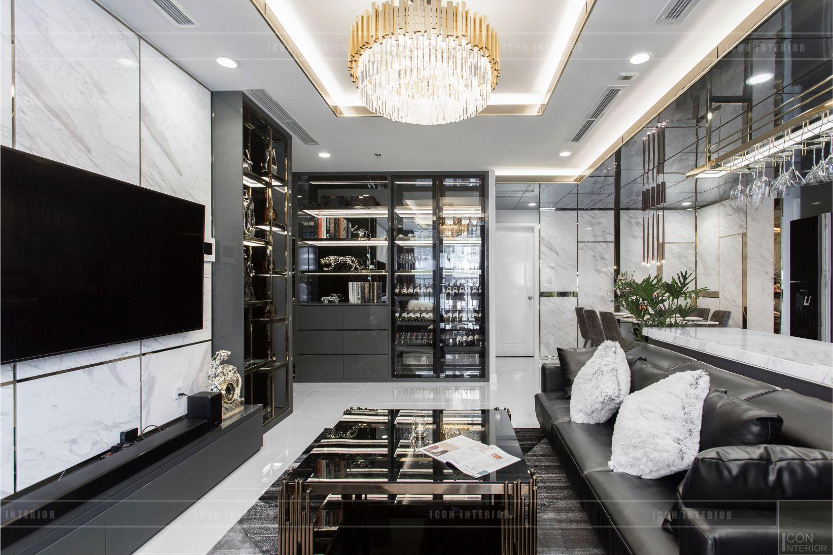 thiết kế thi công nội thất chung cư - phòng khách bếp 4