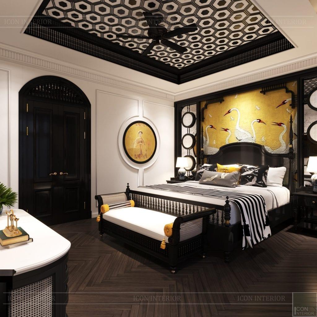 Phòng ngủ thiết kế Indochine