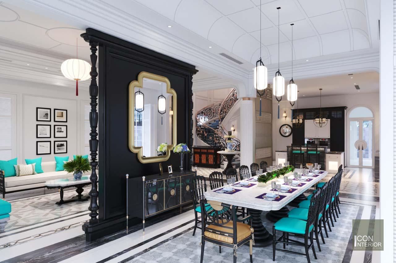 phòng ăn phong cách indochine