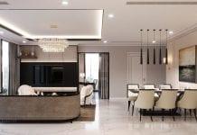 phong cách thiết kế hiện đại châu âu luxury 6 - phòng khách bếp 3